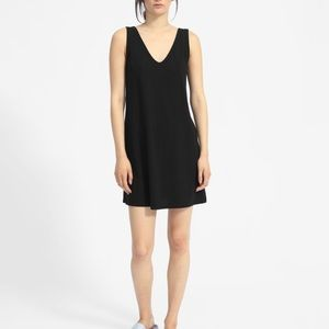Everlane Black Cotton Double V Sleeveless Dress